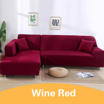 2Pcs Sofa Cover for Living Room Couch Cover Elastic L Shaped Corner Sofas Covers Stretch Chaise Longue Sectional Slipcover - Wine Red, 3-Seat and 4-Seat