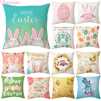 Funda decorativa para almohada con huevos de conejo de Pascua para decoración de fiesta de Pascua Feliz funda de cojín para el hogar adornos de Pascua suministros para fiesta
