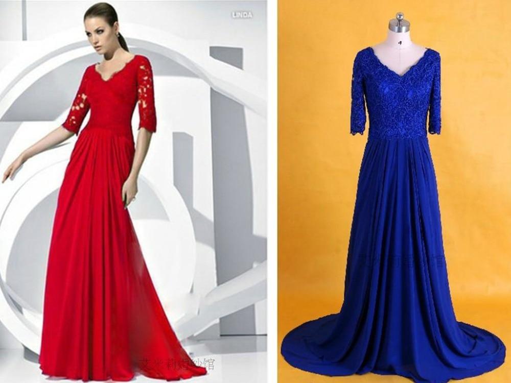 Sexy Half Sleeves Blue Chiffon Long V-neck Formal Gowns 2018 Vestido De Festa Beach Floor-length Mother Of The Bride Dresses