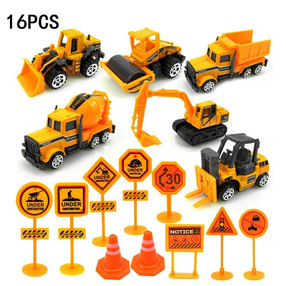 16 Pcs 1 SET 1:64 Alloy Construction Engineering Truck Model Car Excavator Forklift With Traffic Sign Diecast Toy