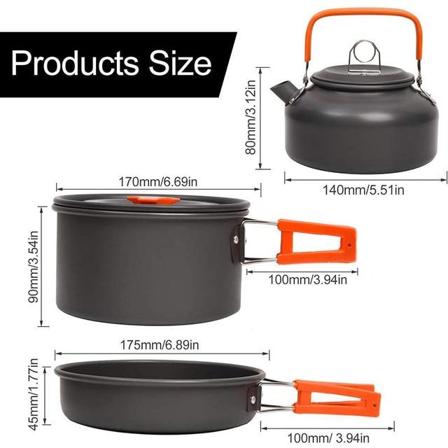 Kit de panelas acampamento ao ar livre conjunto de cozinha de alumínio chaleira água pan pot viajar caminhadas piquenique churrasco utensílios de mesa equipamentos 2