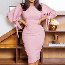 Office Lady Pencil Plus Size Dress Springtime The New Trendy Popular Thin Elegant Best Sellers High Waist Round Neck