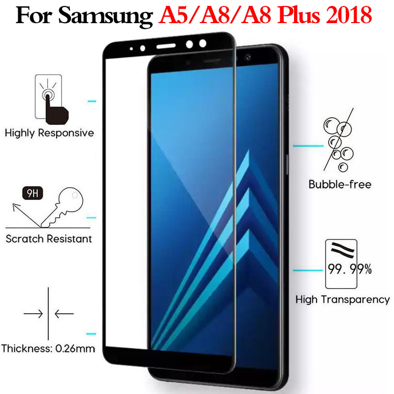 2pcs Full Glue Protective Glass For Samsung Galaxy A5 A8 Plus A8Plus 2018 Screen Protector On galaxy A52018 <font><b>A82018</b></font> Film glass 9h image
