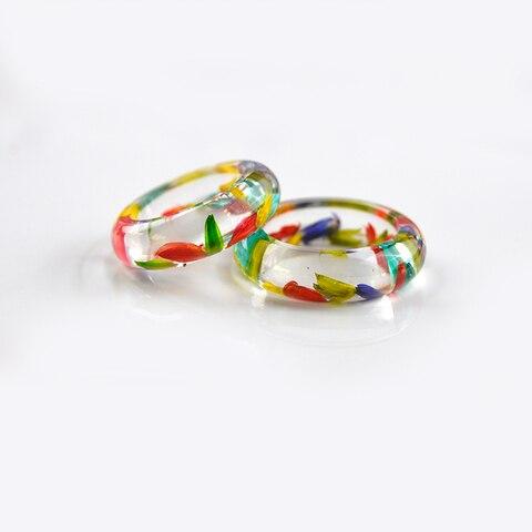 Hj36 кольцо из прозрачной смолы для приглашения в виде цветка