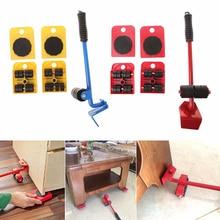 5 pièces profession devoir meubles rouleau meubles poussoir curseurs kit transport outil ensemble roue barre transporteur pour Max 100Kg/220Lbs