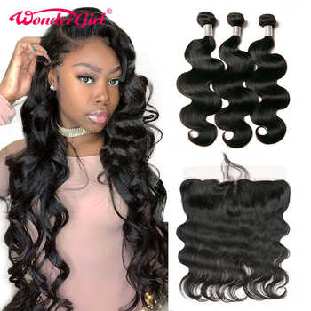 Wonder girl Brazilian Body Wave 3 Bundles With Frontal Ear To Ear 13x4 Lace Frontal Closure With Bundles Remy Human Hair - DISCOUNT ITEM  48% OFF All Category