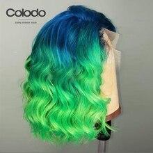 Колодо короткий Боб волнистые волосы на кружеве человеческие волосы парик 13x4 предварительно выщипанные бразильские Remy Ombre светлые цветные человеческие парики для черных женщин