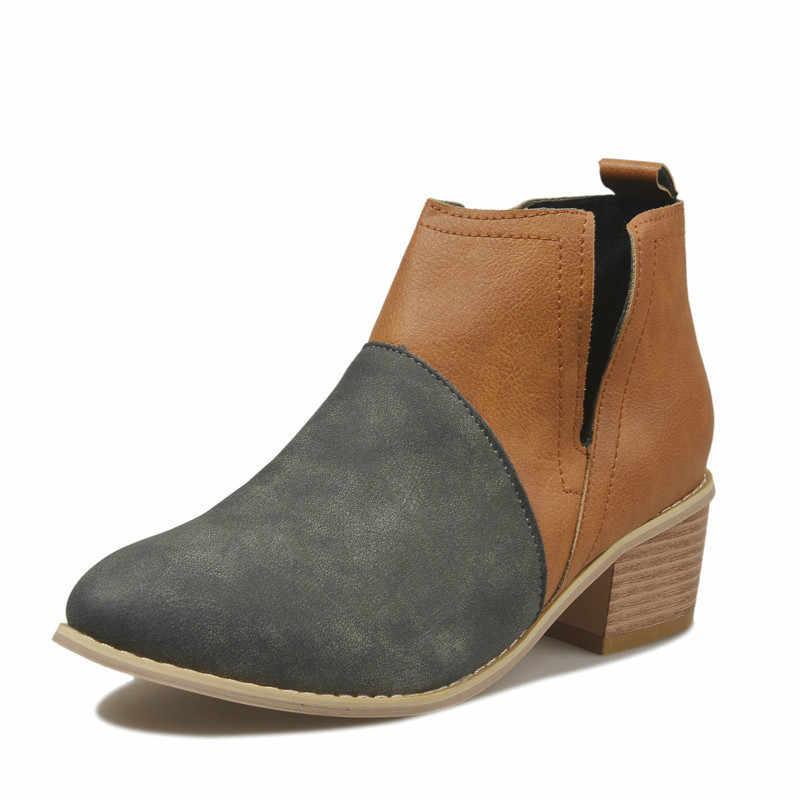 Fujin/женская повседневная обувь; сезон осень-зима; Прямая поставка; женская обувь из искусственной кожи на толстом каблуке; Теплая обувь с круглым носком; большие размеры 35-43