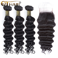 Волосы QT, свободные глубопряди с застежкой, волнистые человеческие волосы Remy 3/4 пряди с застежкой, малазийские пупряди волос с застежкой