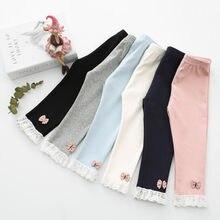 Collants en coton pour bébé fille, pantalon en dentelle avec nœud, longueur cheville, jambières chauffantes flexibles, printemps automne