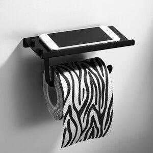 Image 3 - Pintura preta dupla suporte de papel fixado na parede acessórios do banheiro telefone rack prateleira do banheiro espaço material alumínio