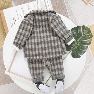 Image 2 - Terno xadrez para roupas do bebê menino botton casaco + calça 2020 nova criança meninos primavera outono 2 pçs crianças outwear 1 2 3 4 ano