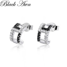 Black Awn 2020 New Cute 925 Sterling Silver Black Spinel Tre