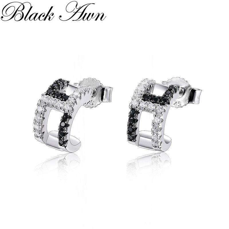 Black Awn 2020 New Cute 925 Sterling Silver Black Spinel Trendy Engagement Earrings for Women Fine Jewelry Gift I158