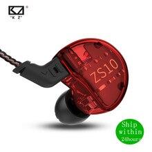 Kz ZS10 1DD + 4BA 4BA + 1DD Hifi Headset Hybrid In Ear Oortelefoon Sport Noise Cancelling Headset Vervanging kabel AS10 BA10 Zst Zsn