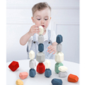 Wooden Jenga Wooden blocks Colored Stone Creative Educational Toys Nordic Style Stacking Game Rainbow Stone Building Block Toy