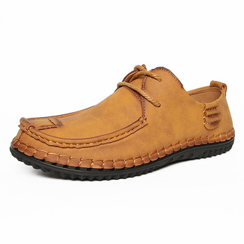 Spring men's calfskin moccasin shoes large size business lace-up casual shoes soft sole fashion breathable leather shoes