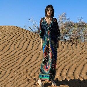 Thai national wind dress saka salt lake of qinghai tourism seaside resort Bali beach dress F552(China)