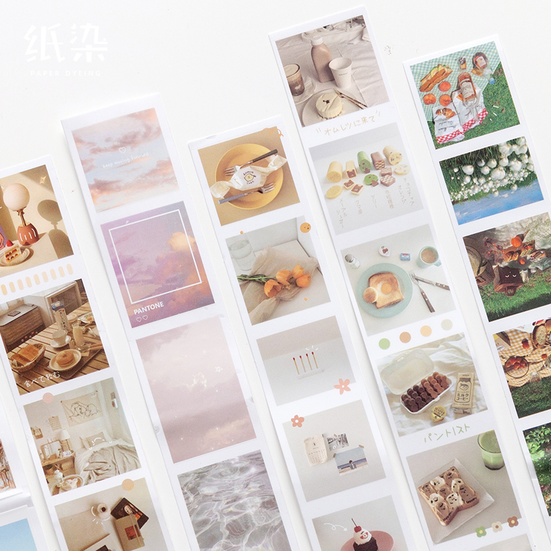 Vintage Masking Tape Photo Album Set PET Tape Ins Nordic Style Waterproof Decorative Stickers Scrapbooking For Bullet Journal