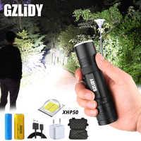 Krachtige XHP50 LED Zaklamp USB Opladen 3 Verlichting Modus Waterdicht Tactische Zaklamp Ondersteuning Zoom Met 18650 of 26650 Batterij