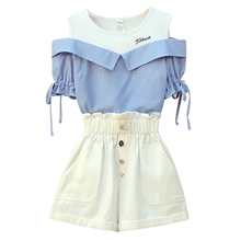 Women Summer Short 2 piece set Elegant Fashion off shoulder Shirt top