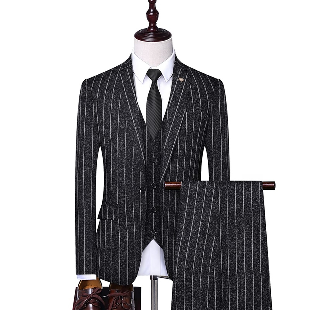 Men's Stripe Slim Fit Wedding Suits Groomsman Tuxedos Formal Business Casual Work Wear Suits 3 Pieces Set (Blazer+Pants+Vest)