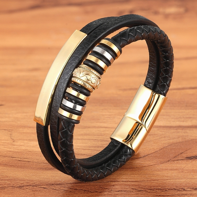 Men's Multi-layer Leather Stainless Steel Metal Luxury Leather Bracelet Budget Friendly Accessories