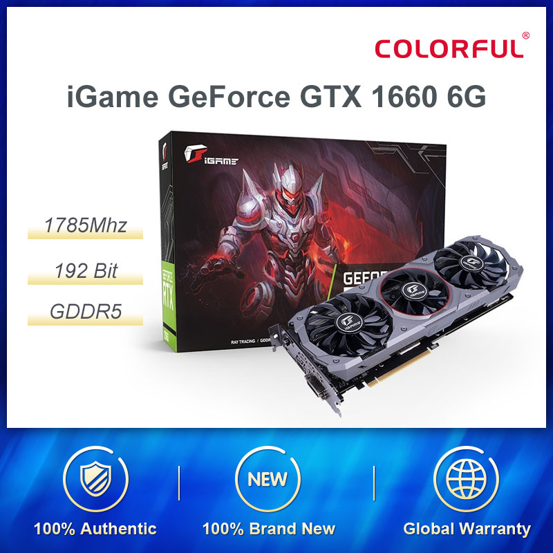 Colorful iGame GeForce GTX 1660 Advanced OC 6G Graphic Card Nvidia GPU GDDR5 1785Mhz Video Card 192 Bit HDMI DVI For Gaming PC