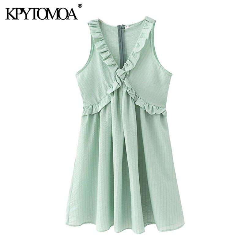 KPYTOMOA Women 2020 Sweet Fashion Ruffled Pleated Mini Dress Vintage V Neck Sleeveless Back Zipper Female Dresses Vestidos