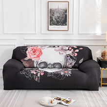 Slipcover Spandex Skull Arm Couch Furniture Stretch Polyester Cushion Cover Furniture Couch Single/ Two/Three Sofa Cover D30 stretch couch slipcover brown polyester rib knit fabric