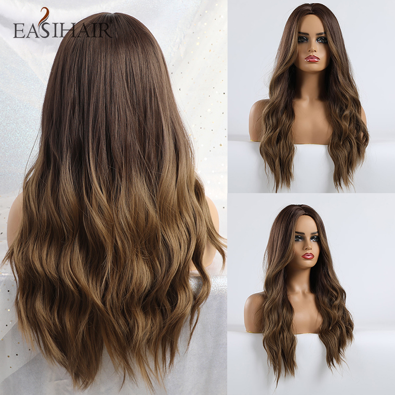 EASIHAIR Long Brown Ombre Synthetic Wigs for Women Natural Hair Wavy Wigs Ash Brown Blonde Heat Resistant Female Wig Cosplay