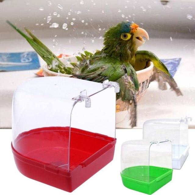 Bird Bath Bathtub Bath Box Bird Cleaning Tool Cage Wholesale Shower Transparent Tub Hanging Accessories Bath Parrot Plastic B8P6 4