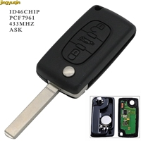 jingyuqin Control Car Key ASK PCF7961 433MHz ID46 Chip CE0536 For Peugeot 307 CITROEN C2 C3 C4 C5 Berlingo Picasso 3 BTN|Car Key| |  -