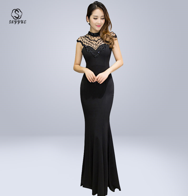 Skyyue   Evening     Dress   Sexy O-Neck Sequin Women Party   Dresses   Zipper Robe De Soiree 2019 Plus Size Sleeveless Formal Gowns C072