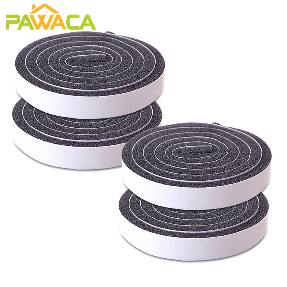 4pcs/set Foam Seal Tape Self-adhesive Door and Window Sealing Strip Wind-proof Sound Insulation Tape Weather Stripping Strip