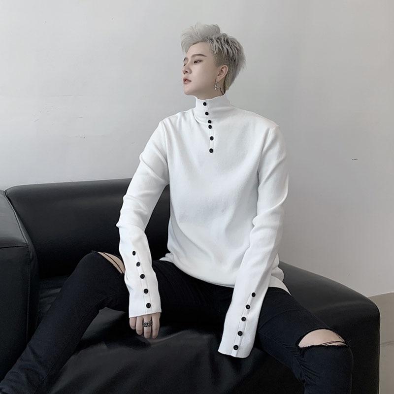 Men Turtleneck Button Design Slim Fit Casual Knitted Pullover Sweater Male Women Autumn Winter Streetwear Bottom Knit Sweater