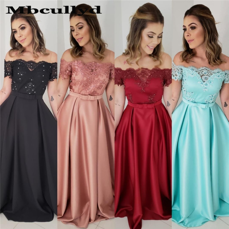 Mbcullyd Luxury A-line   Prom     Dresses   With Applique Lace 2020 Formal   Dress   Evening Gowns Red Short Sleeves robe de soiree
