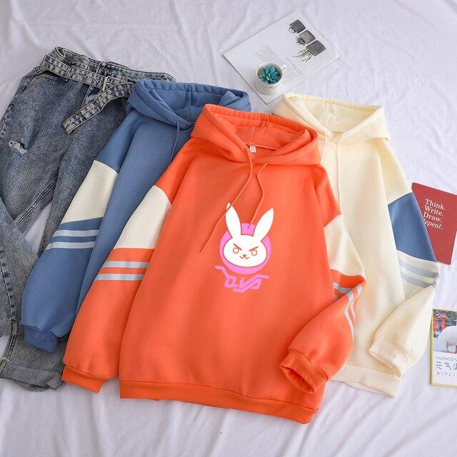 D VA Logo Print Hoodies Women Solid Kawaii OW DVA Rabbit Streetwear Patchwork Fashion Casual Drop Shoulder Fleece Pullover Top