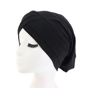 Image 3 - Хиджаб для мусульманманок, шарф, внутренняя шапка, Женский тюрбан, тюрбан, головной платок, растягивающийся, мешковатая шапка для выпадения волос