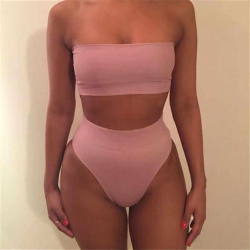 Stałe damskie seksowne Bikini Off ramię owinięte bandaż klatki piersiowej Push Up stroje kąpielowe strój kąpielowy strój kąpielowy kostiumy kąpielowe Pluz rozmiar XXXL