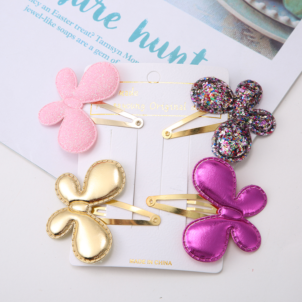 Girls Shiny Synthetic Leather Star Barrette Bling Leather Children Hair Clips