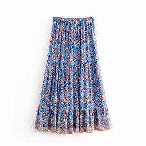 Image 4 - Đầm Sang Trọng Nữ Họa Tiết Bãi Biển Bohemia Váy Nữ Cao Lưng Thun Rayon Chữ A Boho Maxi Váy Femme