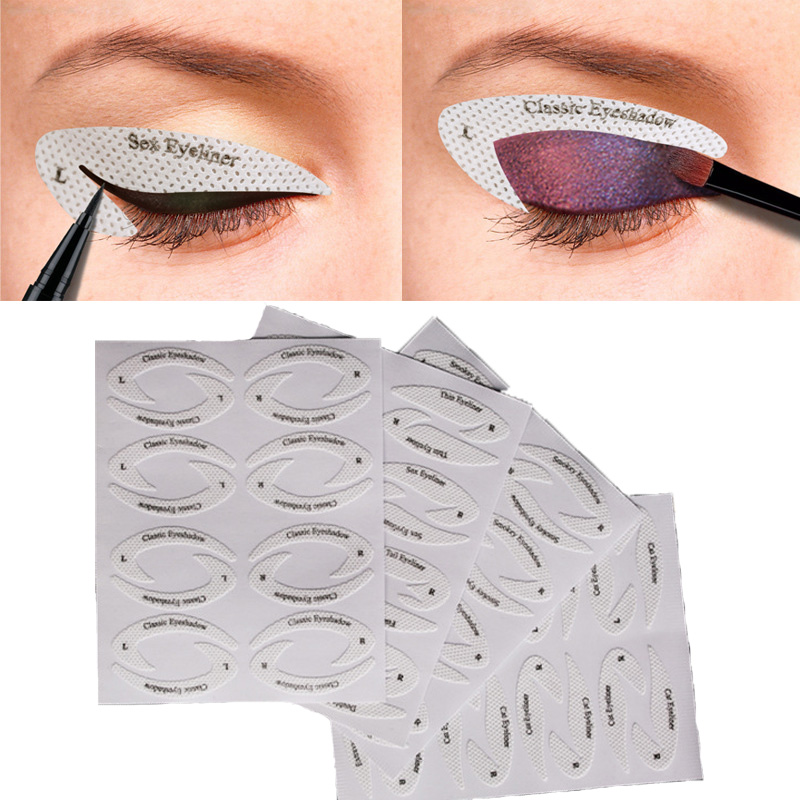 New Eye Makeup Eyeliner Eyeshadow Quick Make-up Stencil Stickers Drawing Lining Adhesive Tips Template 32pcs/lot Makeup Tool Kit