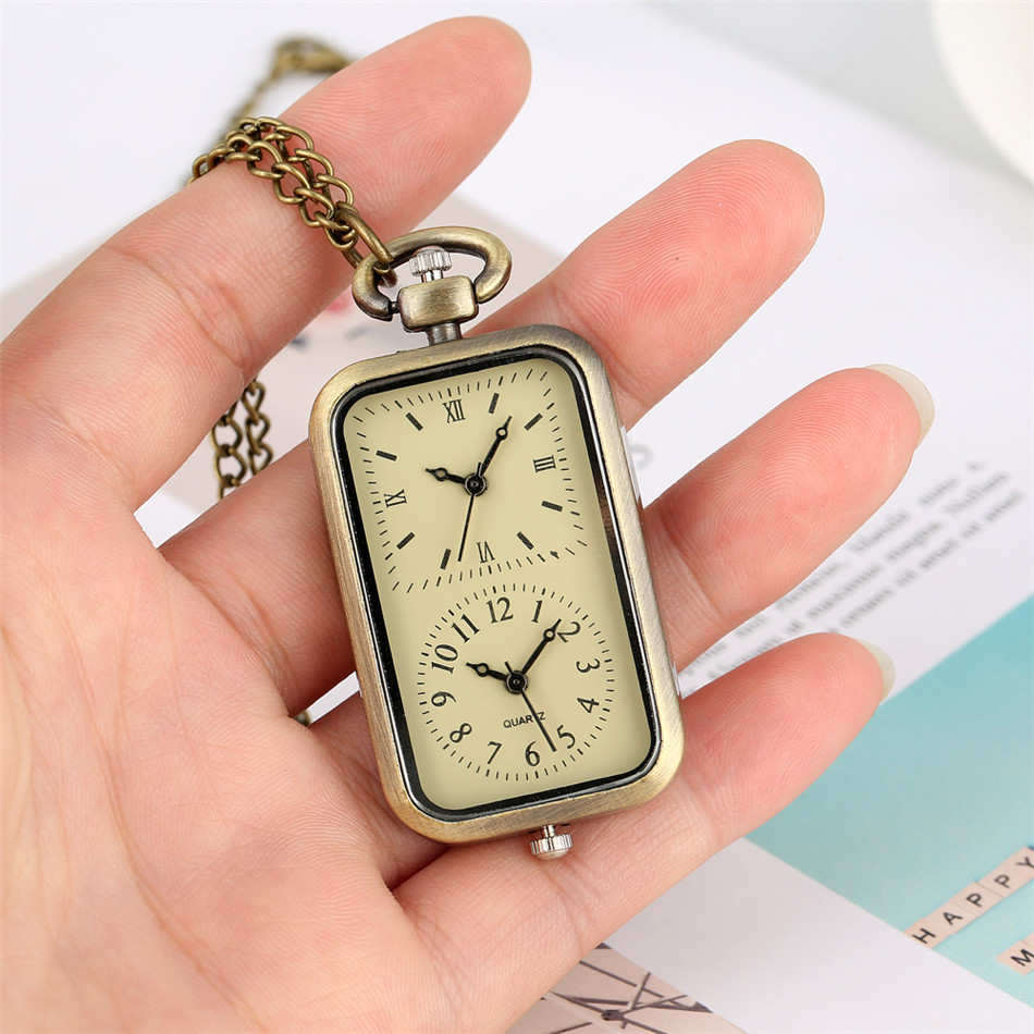 Dual Time Zone Bronze Quartz Pocket Watch Rectangle Shape Necklace Watch Fob Chain Retro Accessory Gifts For Men Women