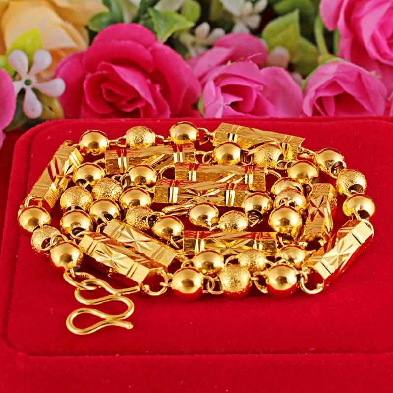 Купить 24k желтое золото бамбуковое ожерелье для мужчин 6 мм 7 8 песок