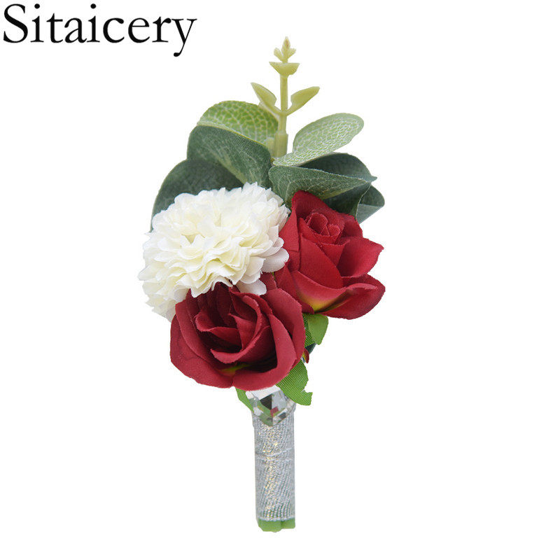 Sitaicery Hight Quality Wedding Corsages And Boutonnieres Silk Rose Corsages Prom 2019 Long Ribbon Artificial Flower Accessories