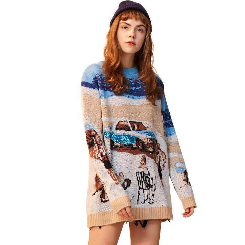 Unifree 2019 가을/겨울 신착 스웨터 여성 스트라이프 컬러 루스 패션 단순 풀오버 여성 의류 uoc183k022a28