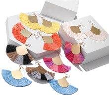 New Design Rainbow Color Tassel Earrings Female Elegant Temperament Acrylic Crystal Pendant Bohemian Jewelry Wholesale