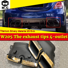 W205 Sport The exhaust tips 4-outlet Titanium Silver For MercedesMB C-Class C180 C300 C200 C400 C63 Look 15-in