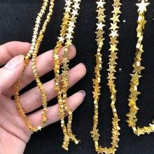Wlyeer-Cuentas sueltas de hematita para joyería, estrella de cinco puntas, piedra Natural, 4, 6, 8 y 10mm, fabricación de colgantes